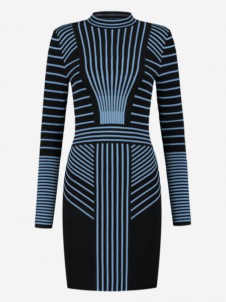 Black dress with blue stripes
