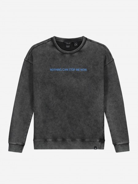 Stone washed sweater with artwork