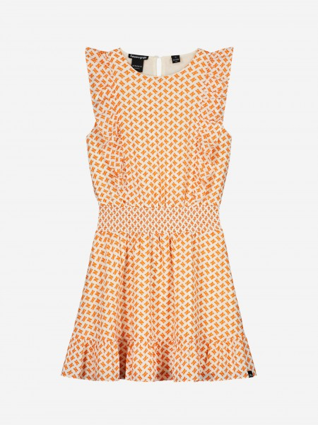DRESS WITH ALL OVER N PRINT AND RUFFLES