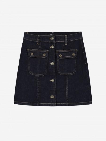Denim skirt with button closure