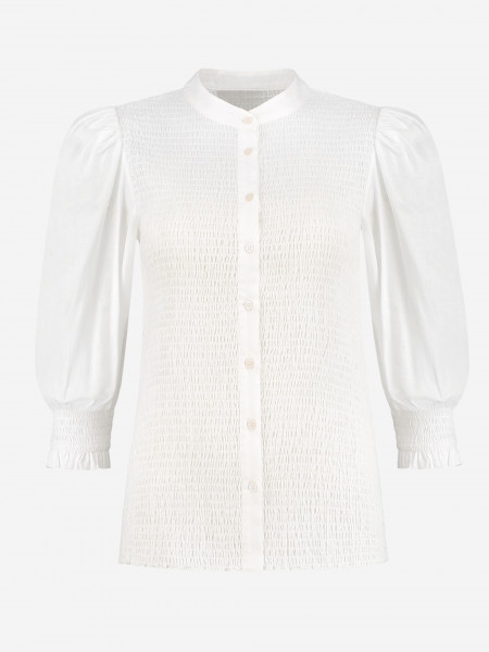 FITTED BLOUSE WITH PUFFED SLEEVES