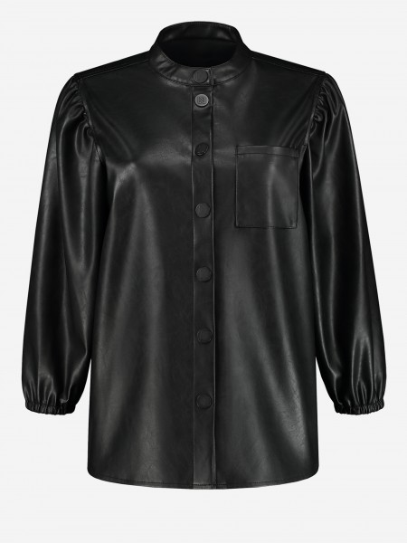 Vegan leather blouse with N logo button