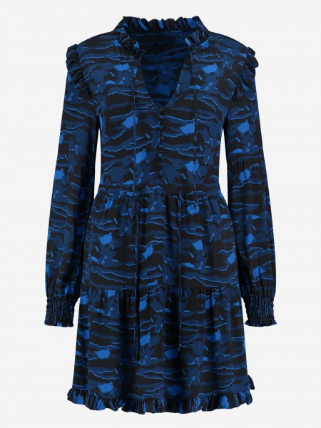 Dress with all over print and ruffles