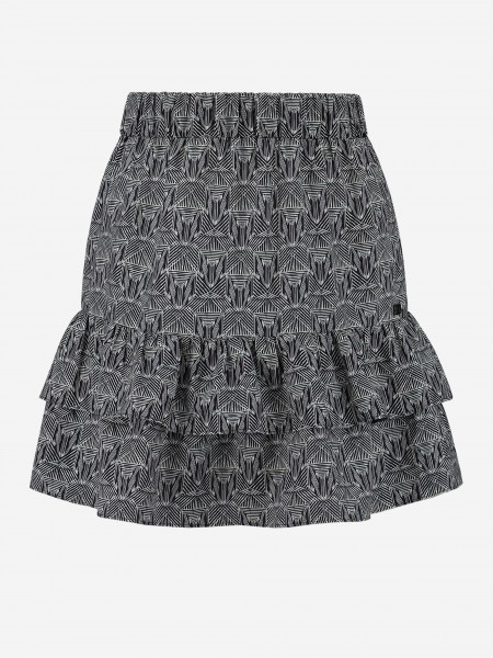 SKIRT WITH PRINT AND RUFFLES