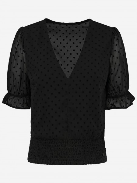 TOP WITH RUFFLES AND DOTS