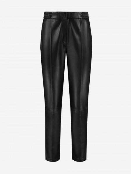 Vegan leather pants with inverted pleat