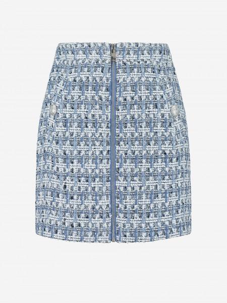 Tweed skirt with zipper