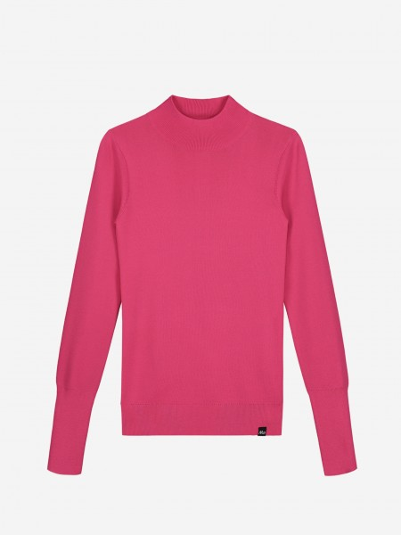 Pink top with high neck