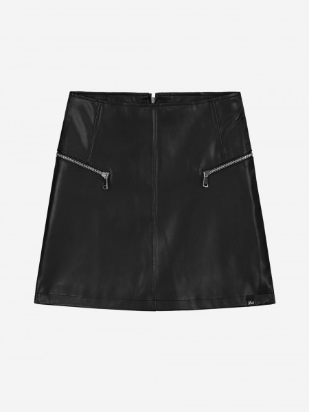 Vegan leather skirt with zippers