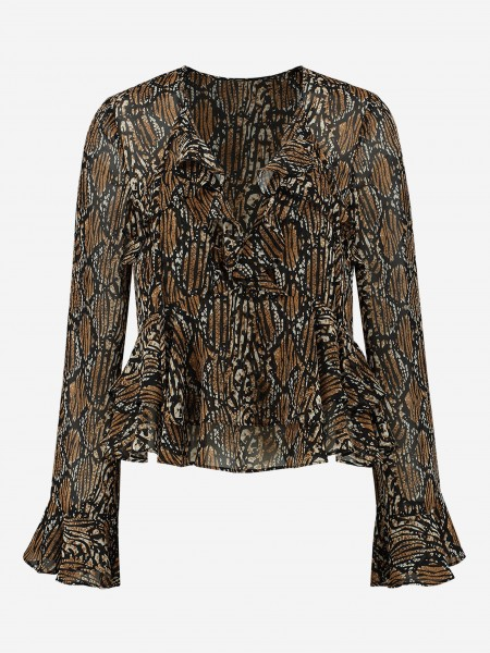 BLOUSE WITH ALL OVER PRINT AND RUFFLES