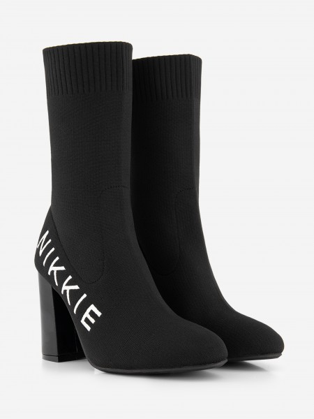 Black sock boot with logo