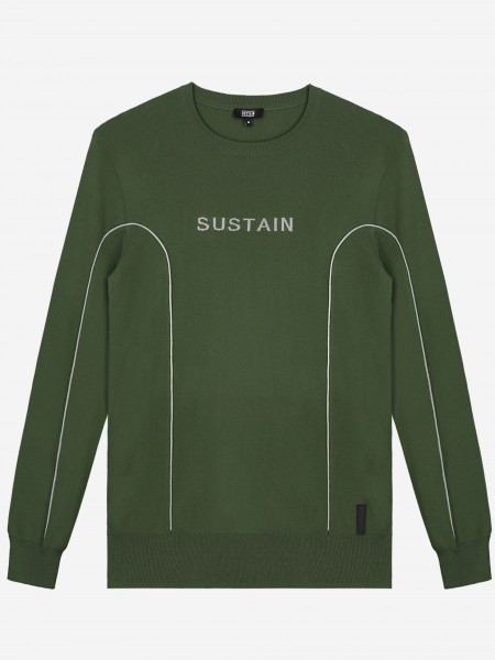 Fine green knit with SUSTAIN logo