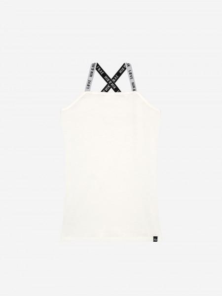 White spaghetti top with black NIK&NIK straps