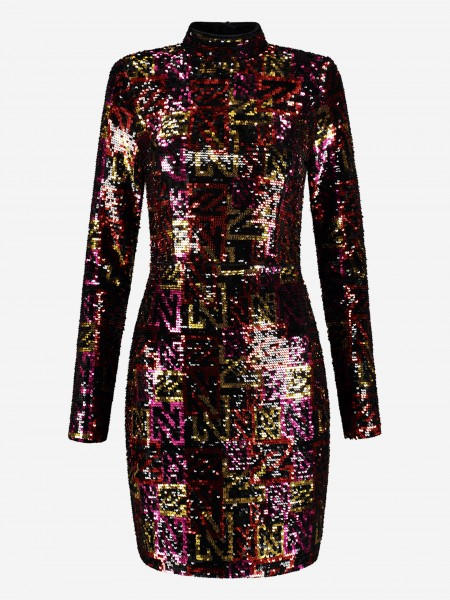 Multi color dress with sequins