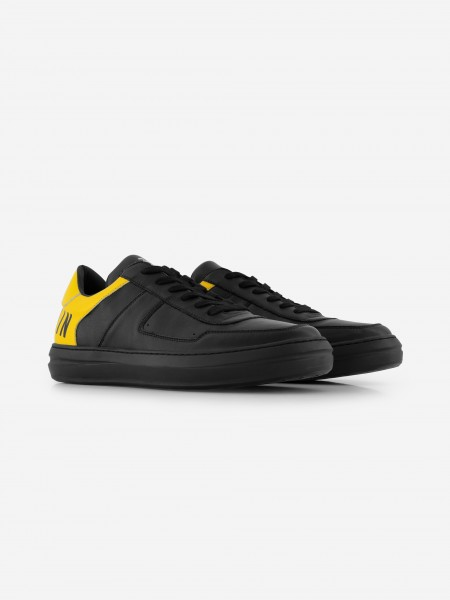 Leather sneaker with yellow heel