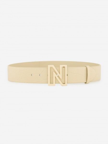 Leather belt with golden N buckle