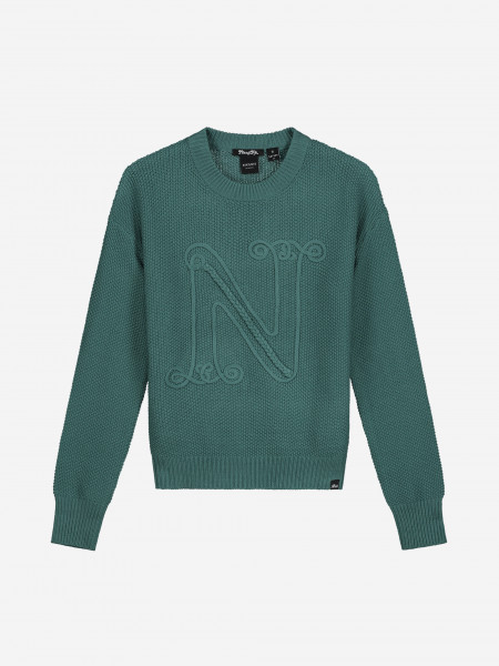 Pullover with N embroidery