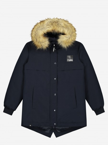 Dark blue parka with logo
