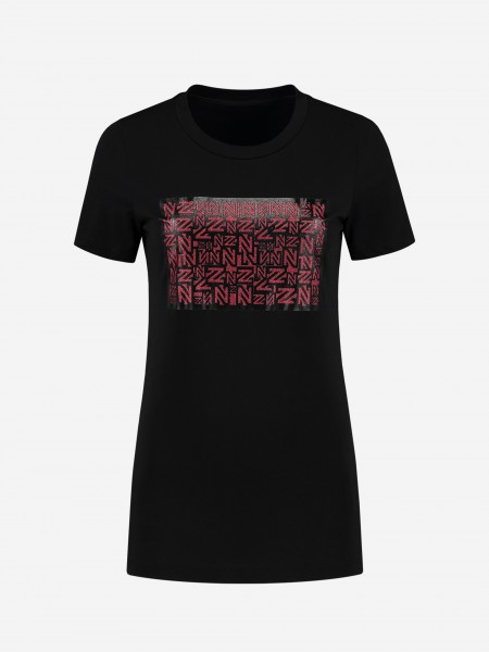 T-shirt with glitter logo artwork