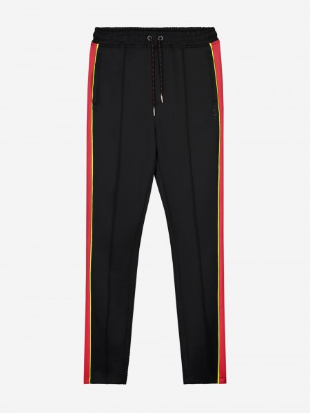 Black track pants with red and yellow