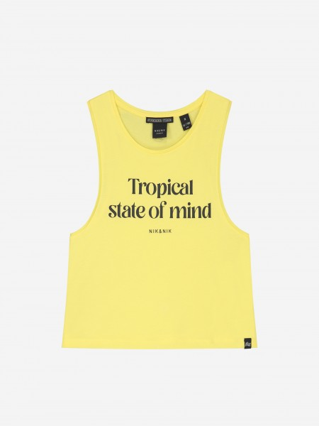 SLEEVELESS TOP WITH ARTWORK AND LOGO