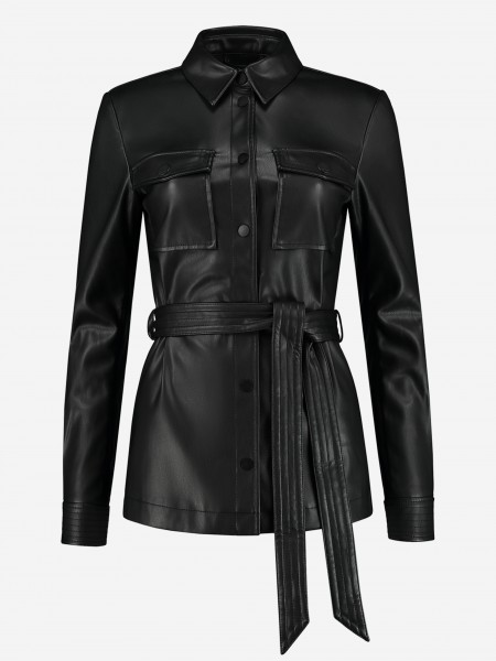Vegan leather blouse with cord