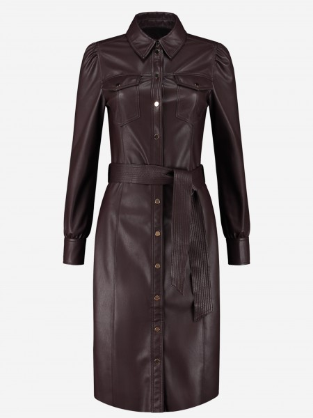 Vegan leather dress with button closure
