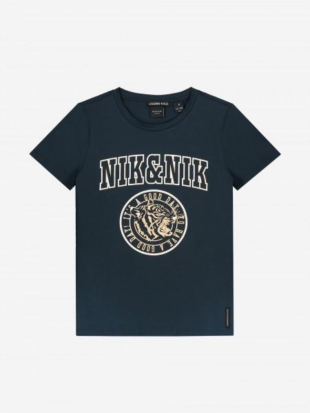 Blue t-shirt with metallic logo