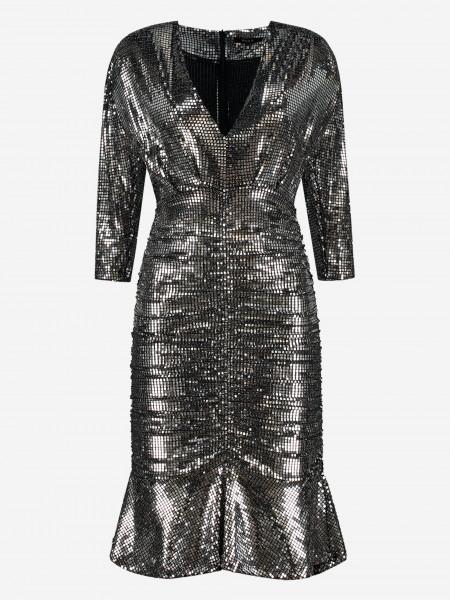 Ruffled Silver Metallic Dress