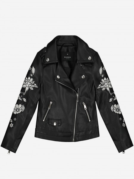 Vegan Leather Jacket With Flower Embroidery