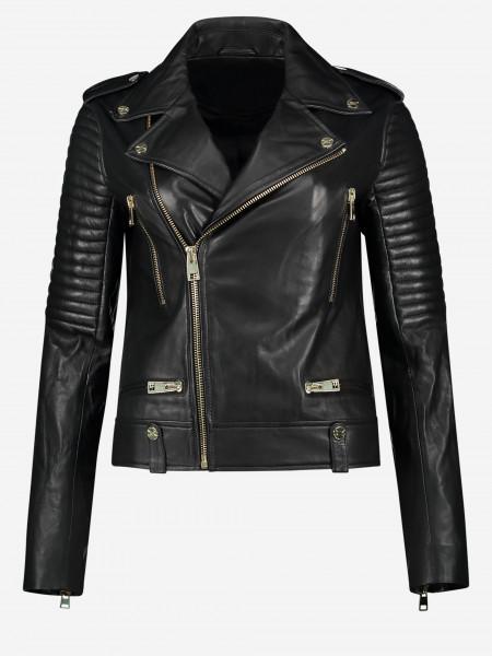 Leather jacket wit golden details