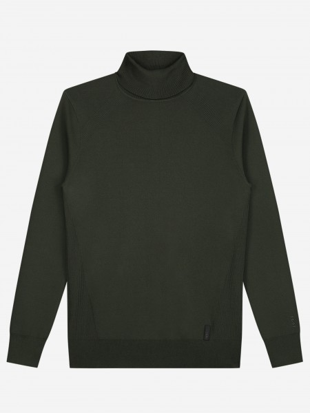 Turtle Neck Knit With Rib Structure