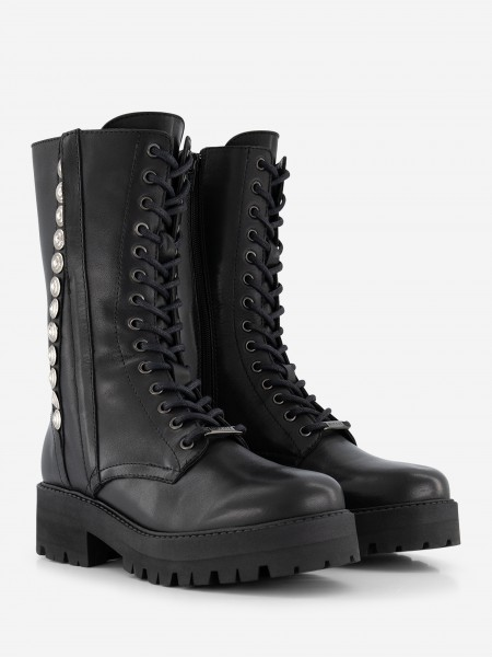 Leather Boots With Silver details