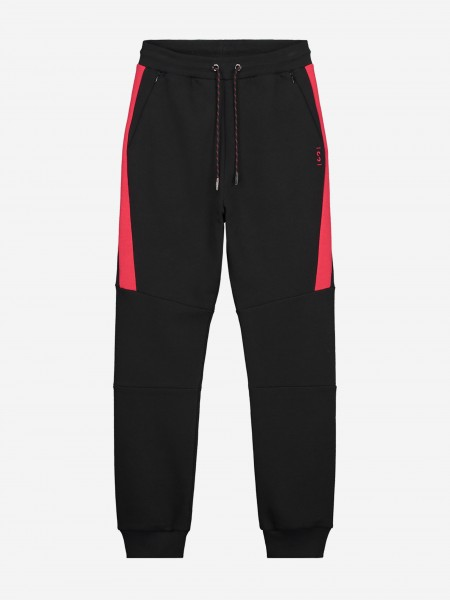 Black joggers with red trim