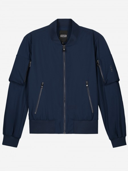 Navy blue bomber jacket with silver zippers