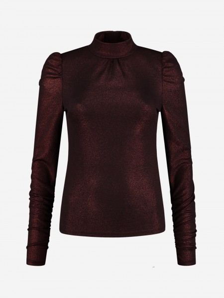 Red glitter top with puffed sleeves