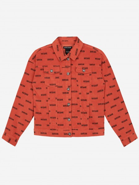 Corduroy jacket with all over logo