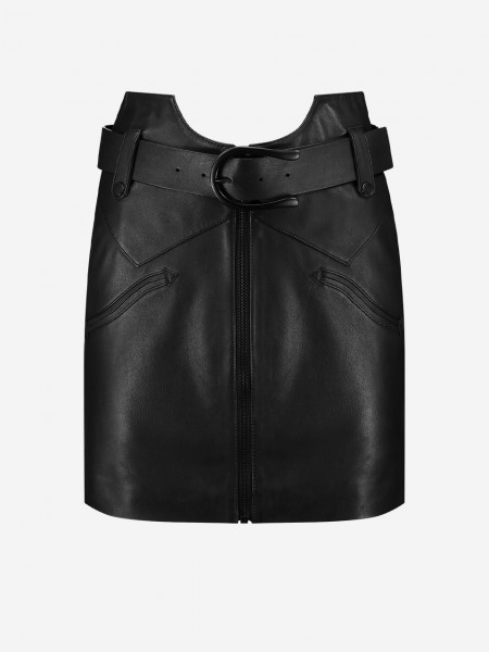 Black leather skirt with western belt