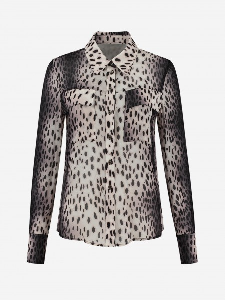 BLOUSE WITH ALL OVER CHEETAH PRINT