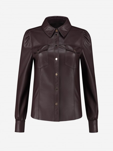 Vegan leather blouse with buttons