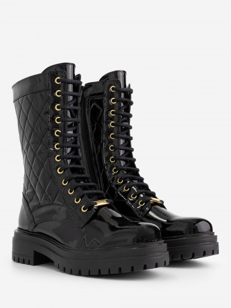 patent leather boots with stitches