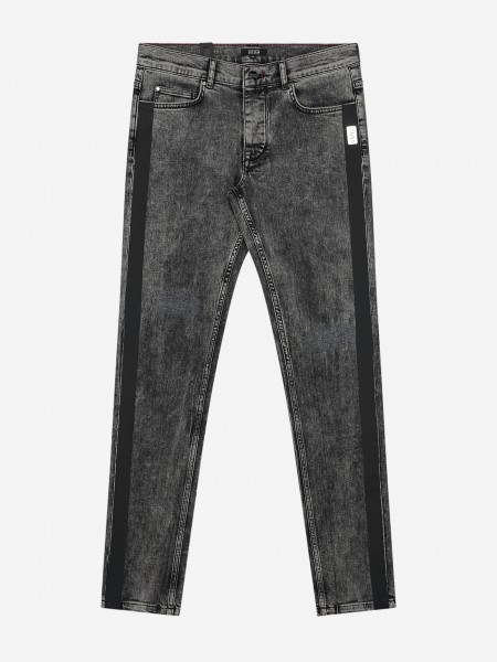 Washed jeans with black trim