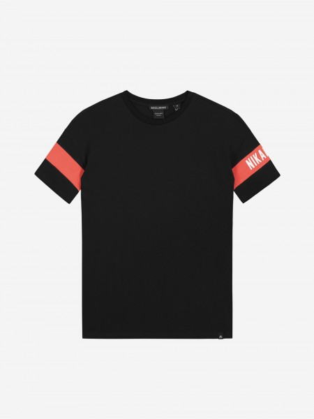 T-shirt with coral red trim