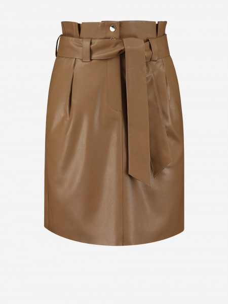 VEGAN LEATHER SKIRT WITH BELT