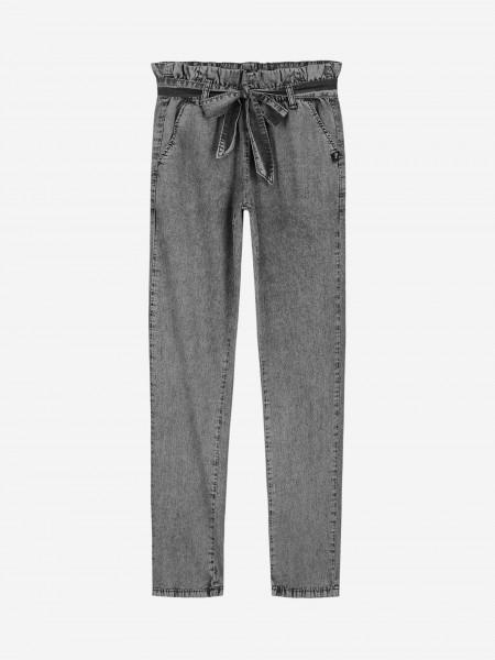 Grey denim with elastic waistband