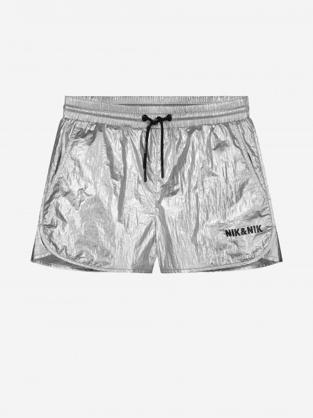 SILVER COLORED SHORTS WITH LOGO