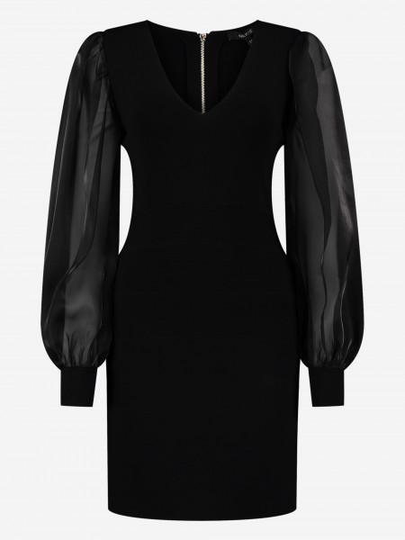 Dress with semi transparent puff