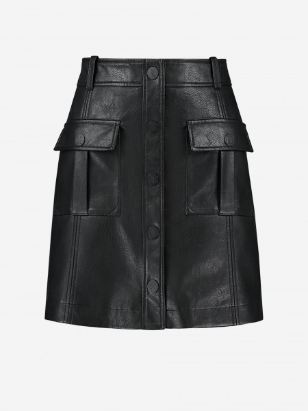 VEGAN LEATHER SKIRT WITH POCKETS