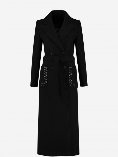 Coat with N logo buttons