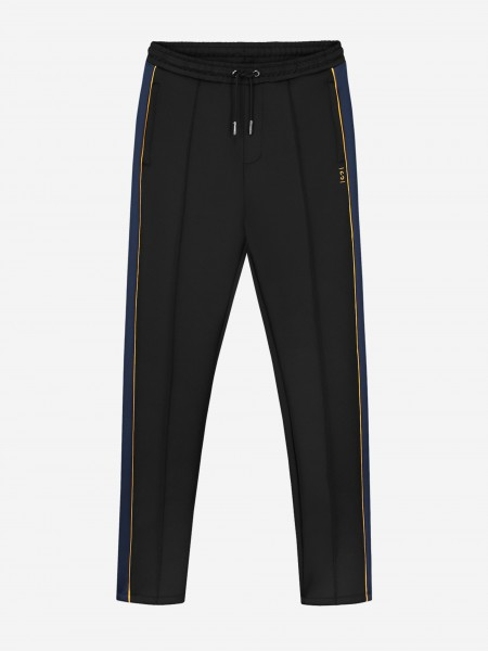 Pants with blue and yellow trim